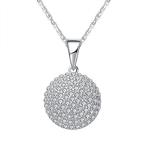 Collar colgante de plata de ley 925 con circonita cúbica, con colgante de rodio blanco fino SN60