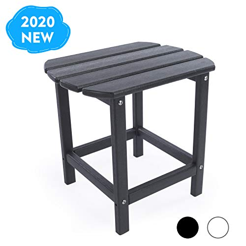 DAILYLIFE HDPE Plastic/Resin Outdoor Tea Table, Side Table for Your Adirondack Chair, Patio Deck Garden, Backyard & Lawn Furniture (Black)
