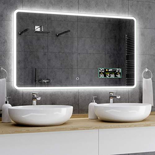 Alasta® Premium Moderne en Verlichte Badkamerspiegel - 140x100 cm - Model Osaka - Spiegel met Aanraaklichtschakelaar en Weerstation P3
