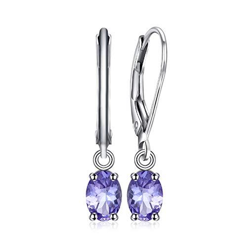 JewelryPalace 1Ct Naturale Blu Tanzanite Leverback Orecchini Pendente Argento Sterling 925