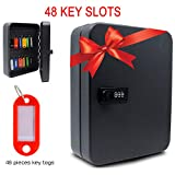 Audiology 48 Slot Key Lock Box Combination Lock Wall Mounted Key Cabinet with Key Tags Steel Key Storage Lock Box