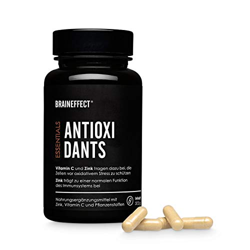 BRAINEFFECT ANTIOXIDANTS I Antioxidantien aus 30 Pflanzen-, Frucht- und Wurzelextrakte I 100% RM Vitamin C + Zink I Vegan, Keine Zusatzstoffe, German Quality - 2 Monatsvorrat