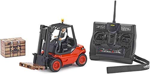 Carson 500907093 Linde 2.4G - Maqueta de camión teledirigido (Escala 1:14, con Luces y Funciones de Sonido, Mando a Distancia de 2,4 GHz)