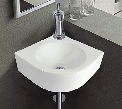 1x Keramikwaschbecken Eckwaschbecken weiß, 30 x 30 x 12 cm/Waschbecken Keramik Wandmontage oval halbkreis Bad