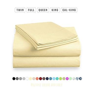 Luxe Bedding Sets - Queen Sheets 4 Piece, Flat Bed Sheets, Deep Pocket Fitted Sheet, Pillow Cases, Queen Sheet Set - Vanilla