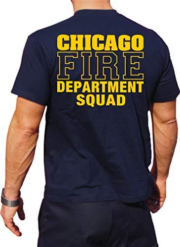 Feuer1 T-shirt fonctionnel Navy avec protection UV 30+, Chicago Fire Dept, inscription jaune avec emblème standard L bleu marine