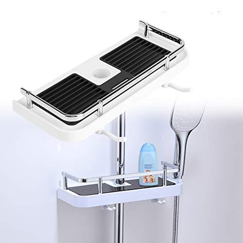 ABS, organizer, tablethouder, praktisch badkameraccessoire, zonder boren te monteren, geschikt voor douchestang met 24 mm diameter