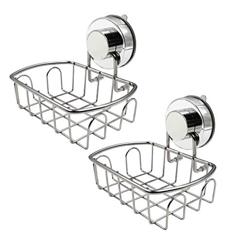 Ulable Jabonera con ventosa adhesiva, bandeja de almacenamiento, soporte de esponja de acero inoxidable 304 duradero para baño y cocina, paquete de 2