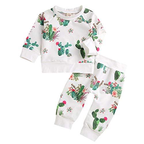Mingfa Neugeborenes Baby Mädchen Junge Kaktus Druck Langarm T-Shirt Tops Hosen Winter Kleidung Outfits Kleinkind Pyjama-Set Gr. 68, weiß