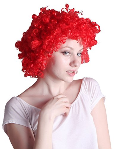 HDE-Rojo brillante Hurfano Annie rizado afro payaso disfraz de Halloween Novelty peluca