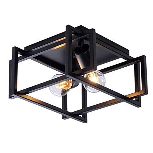 MCLJR Lámpara De Techo Industrial Retro Pasillo De Hierro Forjado Negro Accesorios De Techo Ceiling Light De Comedor Cuadrada Enchufe E27 para Sala De Estar Dormitorio Iluminación De Balcón