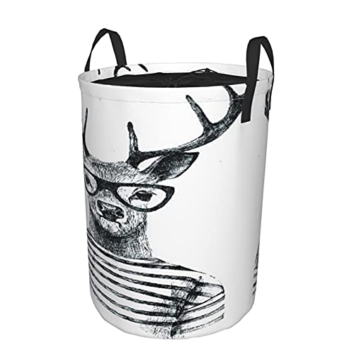 Storage Basket,Hand Drawn Dressed Up Deer In Hipster Style,Collapsible Large Laundry Hamper with Handles 21.6'X16.5'