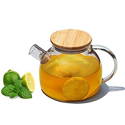 Popward Glass Teapot 1000ml /33.8 oz with Removable Filter Spout and Bamboo Lid, Stovetop Safe Tea Pot ,Clear Glass Teapot for Loose Leaf , Blooming Tea