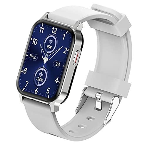 JHHXW Reloj Inteligente, Pantalla de 1.69 Pulgadas, múltiples Modos de Deporte, música Bluetooth, recordatorio de Llamada/Mensaje, Multi-dial, IP67 Impermeable (Color : Silver)