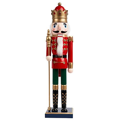 Cascanueces de Navidad de Madera Grande, 50cm| Material de Pino y Madera Premium, Robusto, Colores Festivos| Marioneta de Navidad, Adornos de Decoración de Navidad Tradicionales Clásicos.