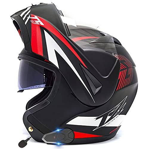ZLYJ Casco Abatible para Motocicleta con Micrófono Incorporado Casco Integral Bluetooth Integrado Certificación ECE Casco Modular De Doble Visera A,XL(61-62cm)