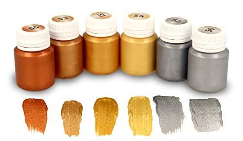 Krevo Art Acrylfarben Metallic | 6 x 20ml schimmernde Metallicfarben auf Wasserbasis | Cremig deckend, schnelltrocknend für Holz, Faserplatten, MDF, Papier, Pappe, grundierte Leinwände, Steine, Ziegel