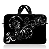 13,3 LSS 'Laptop Sleeve Bag Carrying Case with Hidden Handle Pouch for 13,3 12,1' 13' ' 12', Macbook GW, Acer, Asus, Hp, Dell, Sony, Toshiba, Vines Black and White Swirl Floral