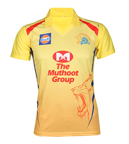 KD Cricket IPL Jersey Supporter Jersey T-Shirt 2019 MI, CSK, RCB, KKR and DC(CSK,38)