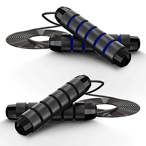 Springseil, 2 Stück Speed Rope Springseil Erwachsene mit Gut Qualitativen Kugellagern, Länge Einstellbar,Jump Rope mit Kugellagern Rutschfesten Handgriffe,Seilspringen für Fitness&Training