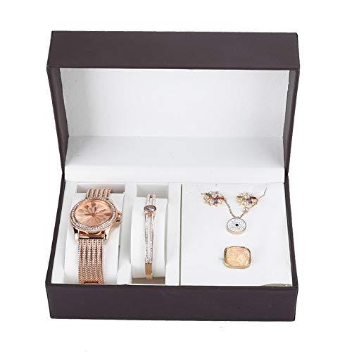 Schmuck Geschenkset, Schmuck Uhrenset mit Box, Armbanduhr Ohrringe Ring Halskette Armband für Frauen Geschenk (Roségold)