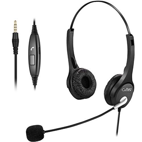 Headset Handy 3,5mm Klinke mit Mikrofon Noise Cancelling, PC Kopfhörer für iPhone Laptop Computer Skype Webinar Business Office Call Center, Kristallklar Chat, Super Leicht