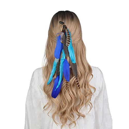 Bohemien Feder Haarband Hippie Haaretragen - Quaste Geflochten Feder Kopfschmuck Leder Seil für Frauen Festival Karneval Boho Haar Zubehör (blau + himmelblau)