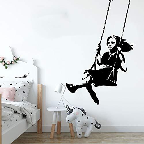 Tianpengyuanshuai Schommel Meisjes Muursticker Kinderkamer Graffiti Straatcultuur Muurtattoo slaapkamer Vinyl Decoratie