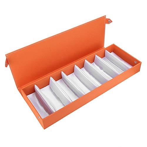 DAUERHAFT Portable Glasses Display Case 8 Grids Glasses Storage Box Prevent Dust Neat and Orderly Oxford Fabric Travel Sunglasses(Orange)