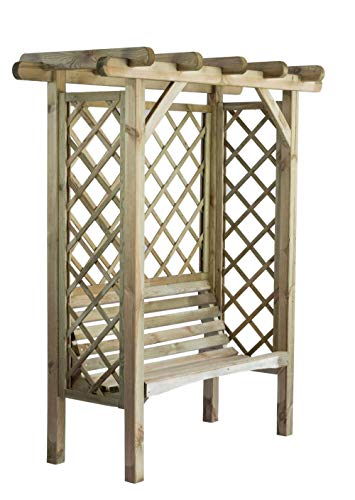 LiveOutside Garden Arbour York with 2-Seater Bench and Side Trellis - Treated Wood - Dimensions: H 207 x 180 x 85 cm