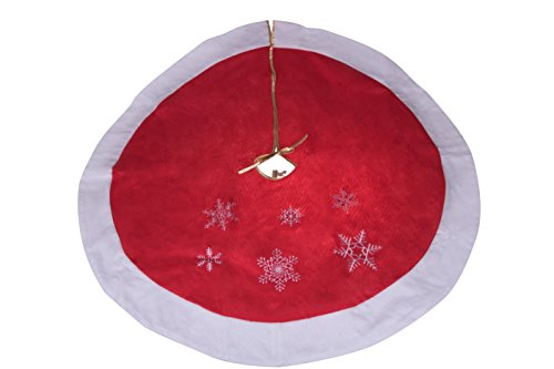 "Clever Creations Red and White Snowflake Christmas Tree Skirt Traditional Theme Festive Holiday Design | Tie Closure Skirt Helps Contain Needle and Sap Mess on Floor | 40"" Diameter"