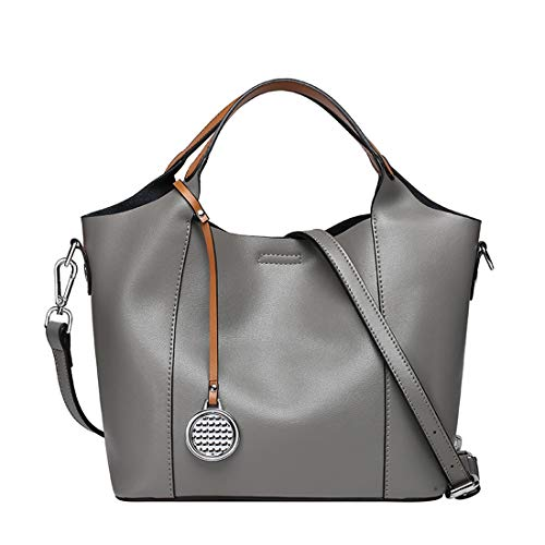 Heshe Leather Womens Shoulder Handbags 2 in 1 Bag Top Handle Tote Purse Satchel Ladies Purses Crossbody Bag (Grey)