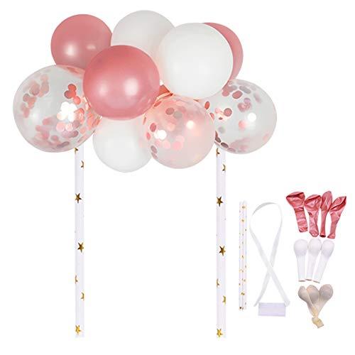 O-Kinee Kuchendeko Mädchen,Kuchen Deko Regenbogen Happy Birthday Girlande Luftballon Topper Backen Weihnachtsfeier Dekoration Konfetti Ballon Plugin Partydekoration (Pulverweiß)