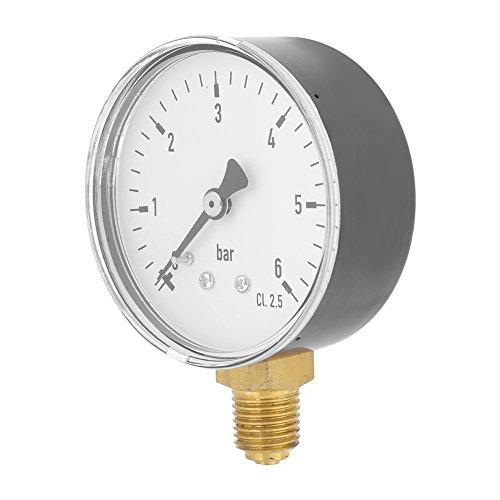 LANTRO JS - Manometre Pression Eau, Manomètre Pression d'eau d'air 1/4' NPT 0-6 Bar Manomètre Hydraulique Manometer pour L'instrument de Cadran D'huile D'air D'eau