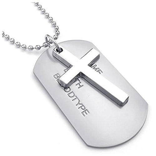 SODIAL(R) Collar Militar Collar de joyeria para Hombre, Pendiente de aleacion de Placas de identificacion de Perro de Estilo del Ejercito de Etiqueta Cruzada con la Cadena de 68 cm, Plata
