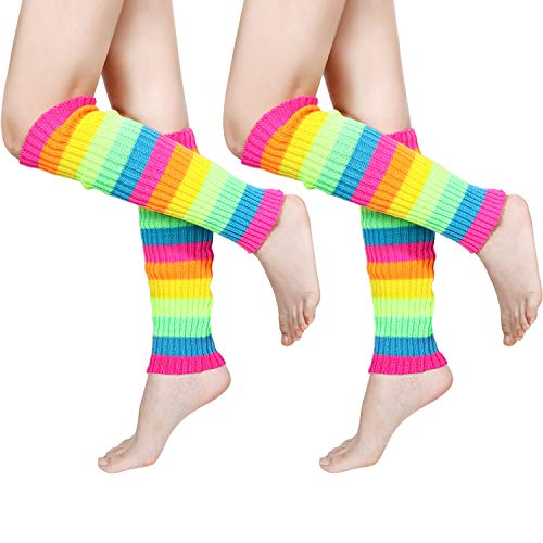 80s Women Knit Leg Warmers Ribbed Leg Warmers for Party Accessories (Multicolor, 2)