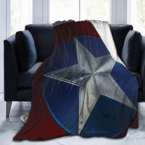 Lsjuee Captai America Shield Manta de Franela de Microfibra Mantas de Tiro Súper Suave Fuzzy Luxury Adecuado para Cama Sofá Viaje Four Seasons Manta 60 x50