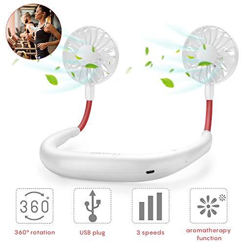 GOAMZ USB Ventilator Tragbare Ventilator mit Aromatherapie USB Fan Handsfree für Wandern, Reisen, Arbeiten, Sommer Outdoor Sport, 3 Stufen, 2-6 Std. 2000 mAh aufladbarer Batterie