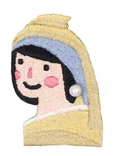 バッグアクセサリー女友達のプレゼントブローチ ピンバッジ ファッション ピンバッチ かわいい UPICK ア ーバシリーズ刺繍ブローチ(真珠のイヤリングを持つ少女 B)