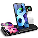4 in 1 Wireless Charging Station, Wireless Charger Dock for iWatch 6,SE,5,4,3,Wireless Charging Stand for iPhone 11,11 Pro,11 Pro Max,XS,XR,X,8,8plus,Air Pods,Air Pods Pro,Samsung S20,S10,N 20 10,LG