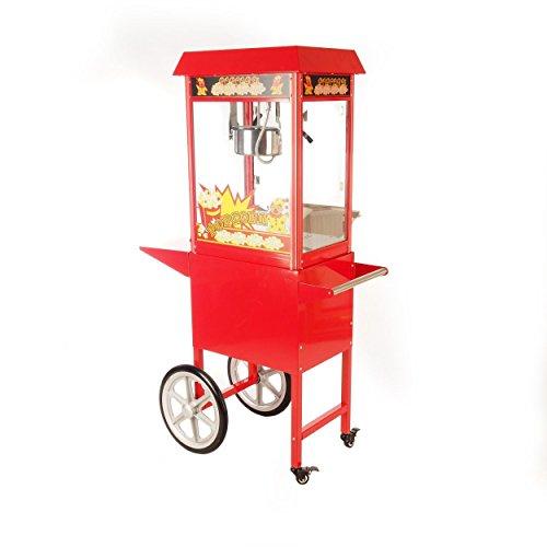 Popcornmaschine mit Wagen für besonders knusprige Popcorn mit Edelstahltopf Wärmeplatte und Innenbeleuchtung