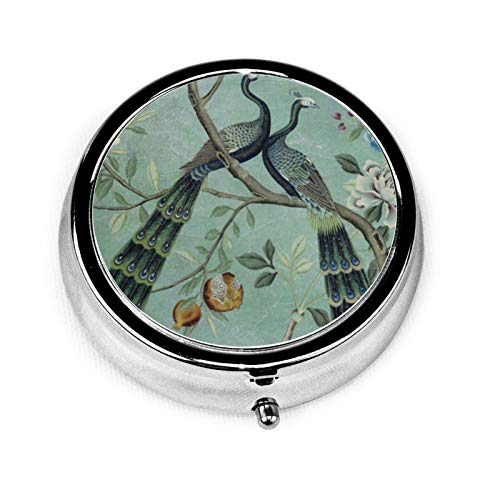 A Teal of Two Birds Chinoiserie Round Pill Container 3 Compartment Metal Medicine Case Vitamin Organizer Holder Decorative Box for Travel Outdoors