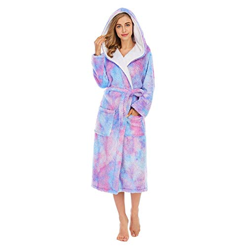 WYJW Dressing Gown Soft Plush Bath Robe,Women Colorful Tie-Dye Coral Fleece Double Pockets Thick Loose Hooded Home Robe