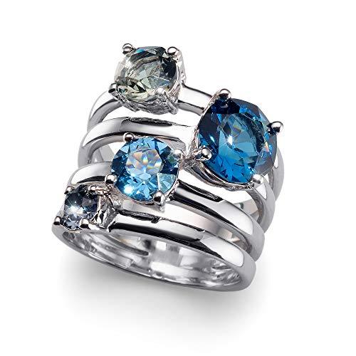 Oliver Weber Bague Duo rhod. bleu Crystals from Swarovski, Size:M