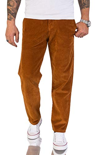 Rock Creek Herren Cord Hose Regular Fit Chino Hose Klassische Hosen Herrenhose Straight Cut Chinos Herren Cordhosen RC-2156 Orange W36 L34