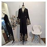 DSJTCH Kaftan Dubai Abaya Kimono Cardigan Muslim Hijab Dress Turkish Saudi Arabia African Dresses for Women Caftan Robe Islam Clothing (Color : Black Cardigan, Size : Large)