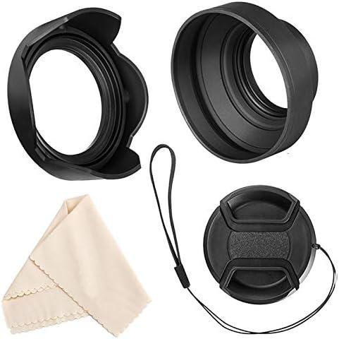 55mm Lens Hood Set Compatible with Nikon D3400 D3500 D5500 D5600 D7500 DSLR Camera with AF-P DX 18-55mm f/3.5-5.6G VR Lens, Collapsible Rubber Hood + Reversible Tulip Flower Hood + Lens Cap