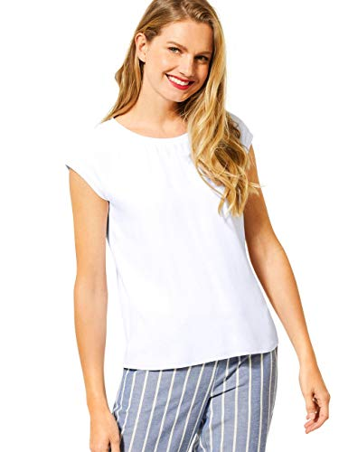 Street One Damen 315090 2in1 Materialmix T-Shirt, White, 46