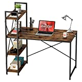 Bestier Computer Desk with Storage Shelves 47 Inch Home Office Desk Writing Study Table for Small Space, Rustic Brown
