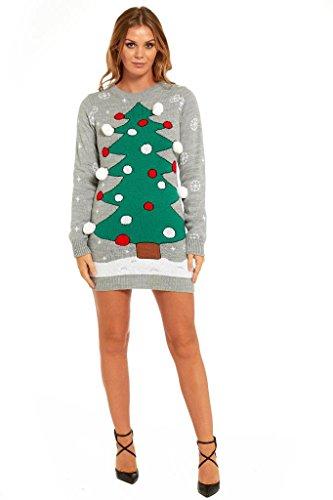 Ladies Christmas Sweater Dress Womens Tunic Xmas Fairisle Top by YLUT Xmas Tree-X Large